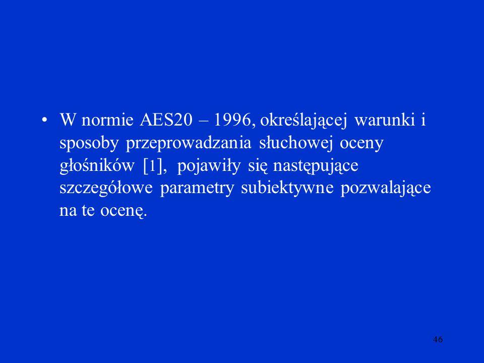 W normie AES20 – 1996, określającej warunki i sposoby przeprowadzania słuchowej oceny głośników [1], pojawiły się następujące szczegółowe parametry subiektywne pozwalające na te ocenę.
